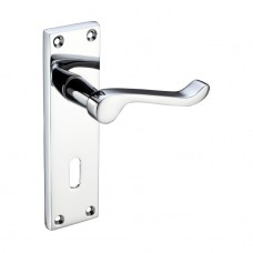 Polished Chrome Victorian Scroll Door Handles with Lock
