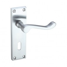Satin Chrome Victorian Scroll Door Handles with Lock
