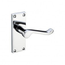 Polished Chrome Victorian Scroll Door Handles - Latch Backplate