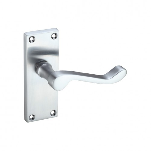 Satin Chrome Victorian Scroll Door Handles - Latch Backplate