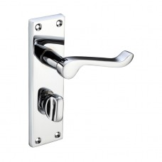 Polished Chrome Victorian Scroll Door Handles with Bathroom Lock