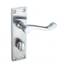Satin Chrome Victorian Scroll Door Handles with Bathroom Lock