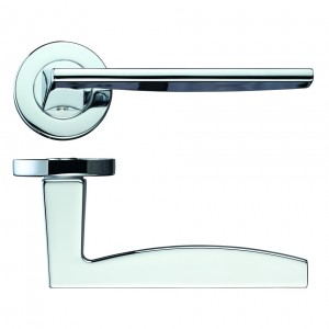 Pavo Door Handle on Rose Polished Chrome