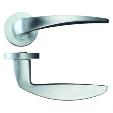 Cygnus Door Handle on Rose Satin Chrome