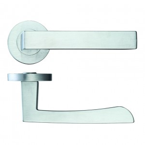 Mensa Door Handle on Rose Satin Chrome