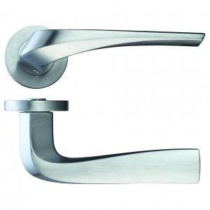 Aries Door Handle on Rose Satin Chrome