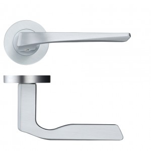 Lyra Door Handle on Rose Satin Chrome