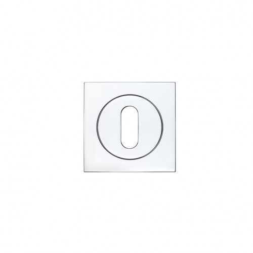 Square Escutcheon with Oval Lock Profile Polished Chrome