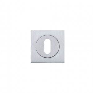 Square Escutcheon with Oval Lock Profile Satin Chrome