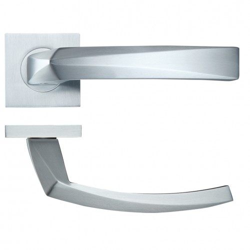 Hydra Satin Chrome Door Handles on Square Rose