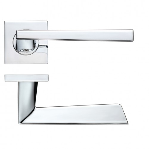 Lupus Door Handle on Square Rose Polished Chrome