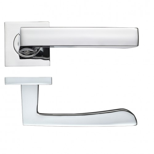 Mensa Polished Chrome Door Handles on Square Rose