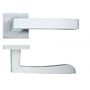 Mensa Door Handle on Square Rose Satin Chrome
