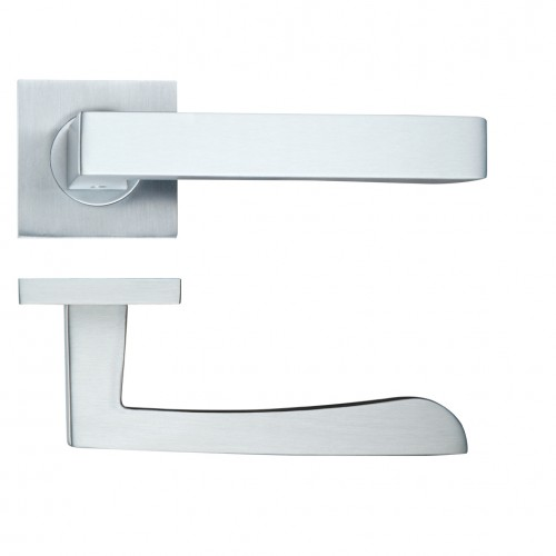 Mensa Satin Chrome Door Handles on Square Rose