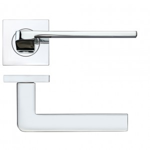 Maia Polished Chrome Door Handles on Square Rose