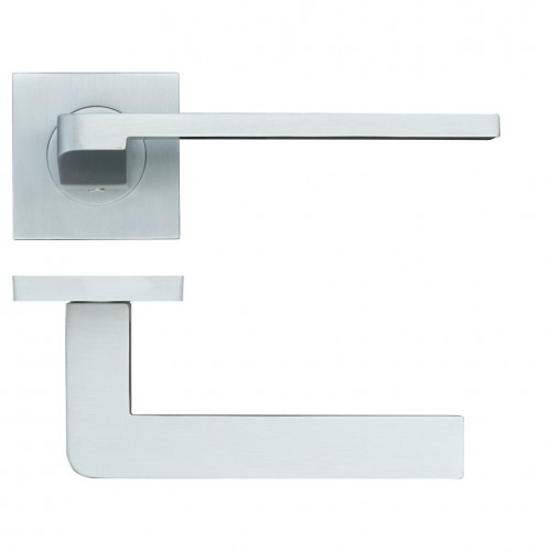 Maia Satin Chrome Door Handles on Square Rose