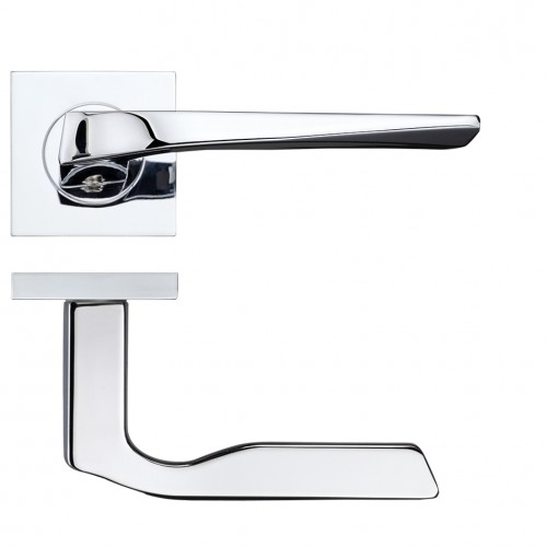 Lyra Door Handle on Square Rose Polished Chrome