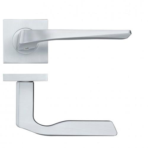 Lyra Door Handle on Square Rose Satin Chrome