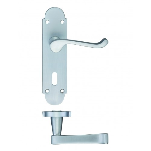 Satin Nickel Scroll Door Handles With Backplate For Lever Lock