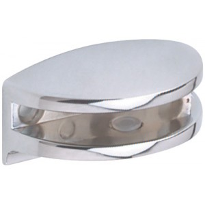 Polished Chrome Curved Glass Shelf Bracket | 6mm Glass