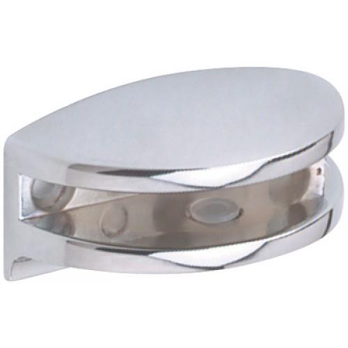 Polished Chrome Curved Glass Shelf Bracket | 6mm Glass