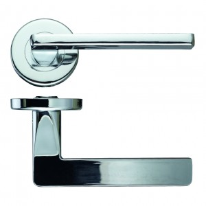 Leon Door Handle on Rose Polished Chrome