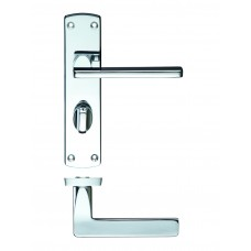Leon Bathroom Lock on Backplate Polished Chrome