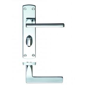 Leon Bathroom Lock on Backplate Polished Chrome