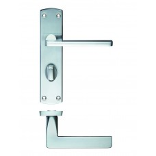Leon Bathroom Lock on Backplate Satin Chrome