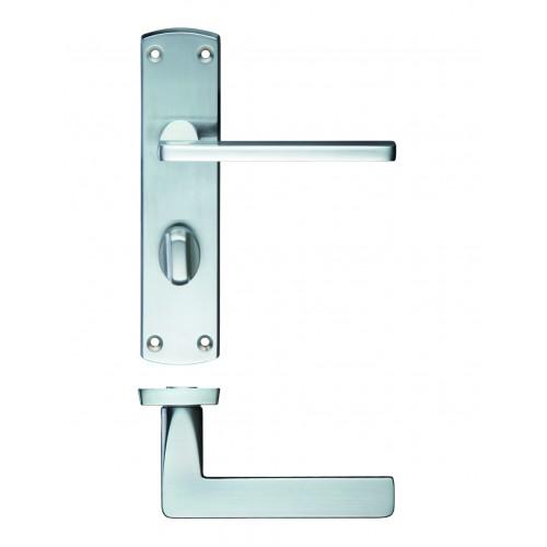 Leon Bathroom Lock on Backplate Satin Chrome