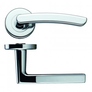 Santiago Polished Chrome Door Handles on Rose