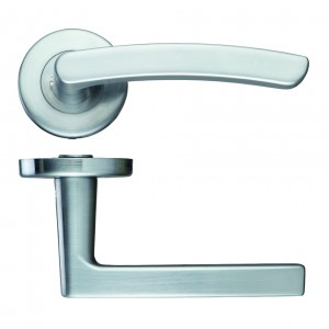 Santiago Satin Chrome Door Handles on Rose
