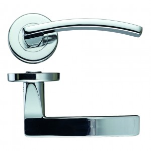 Toledo Polished Chrome Door Handles on Rose