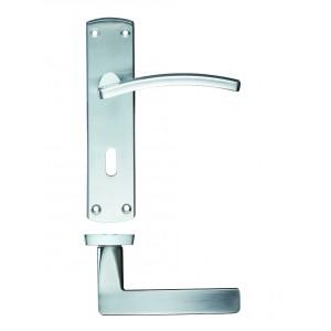 Toledo Lock on Backplate Satin Chrome