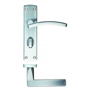 Toledo Bathroom Lock on Backplate Satin Chrome