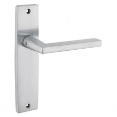 Door Handle on Backplate Satin Chrome - Venice