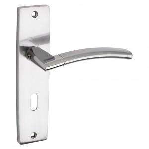 Amalfi Door Handle with Lock on Backplate Polished/Satin Chrome