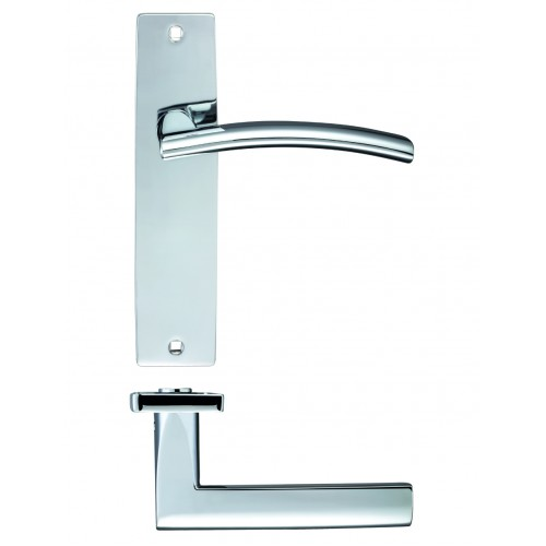 Door Handle on Backplate Polished Chrome - Amalfi