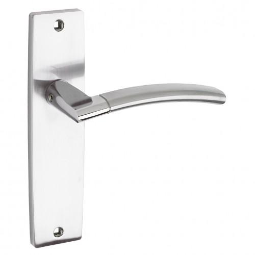 Amalfi Door Handle on Backplate Polished/Satin Chrome