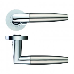 Atlanta Door Handle on Rose Polished Chrome/Satin NIckel