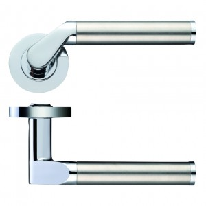 Venus Door Handle on Rose Polished Chrome/Satin Stainless