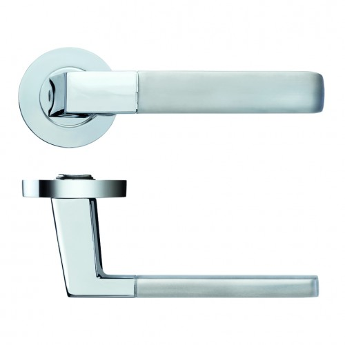 Minerva Door Handle on Rose Polished/Satin Chrome