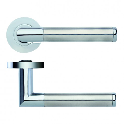 Luna Door Handle on Rose Polished Chrome/Satin Stainless