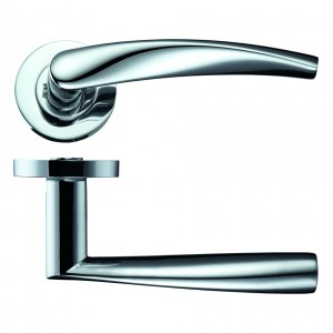 Vesta Door Handle on Rose Polished Chrome